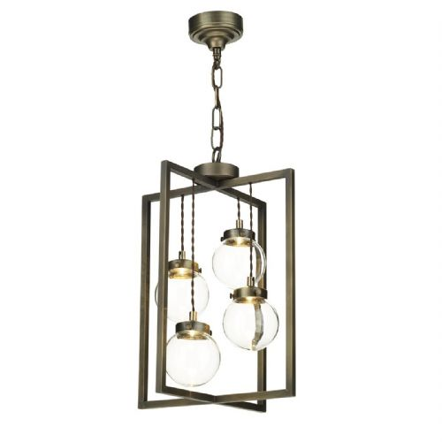 Chiswick 4 Light Lantern Antique Brass complete with Glass (Hand made, 7-10 day Delivery)